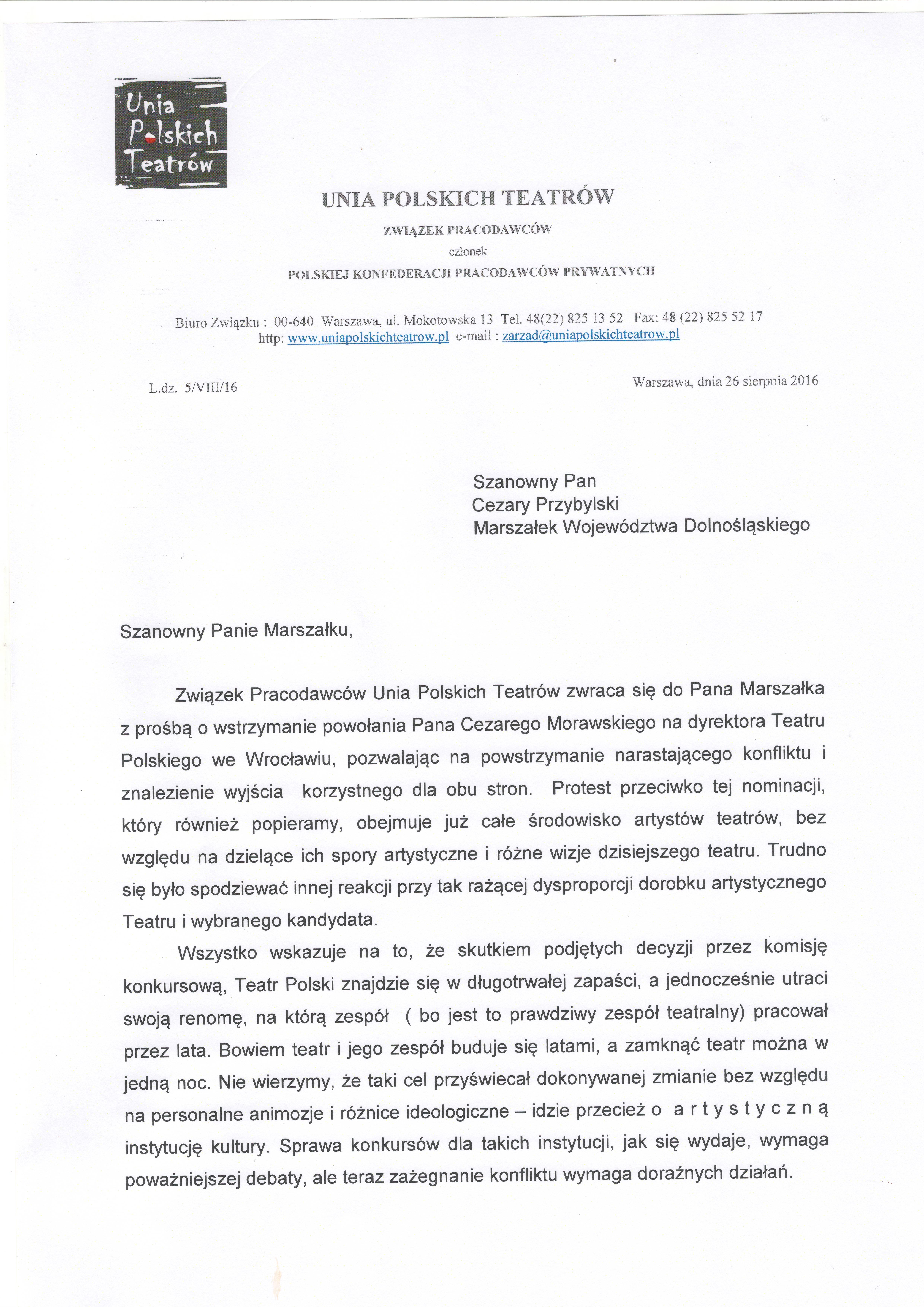 Unia do Marszałka Cezarego Przybylskiego